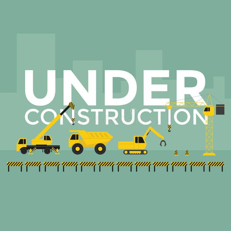 Construction site crane building Under Construction text. Vector stock illustration