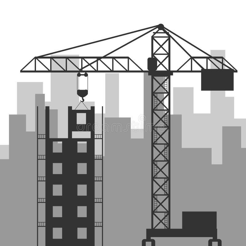 Construction site with a crane. Flat design, illustration royalty free illustration