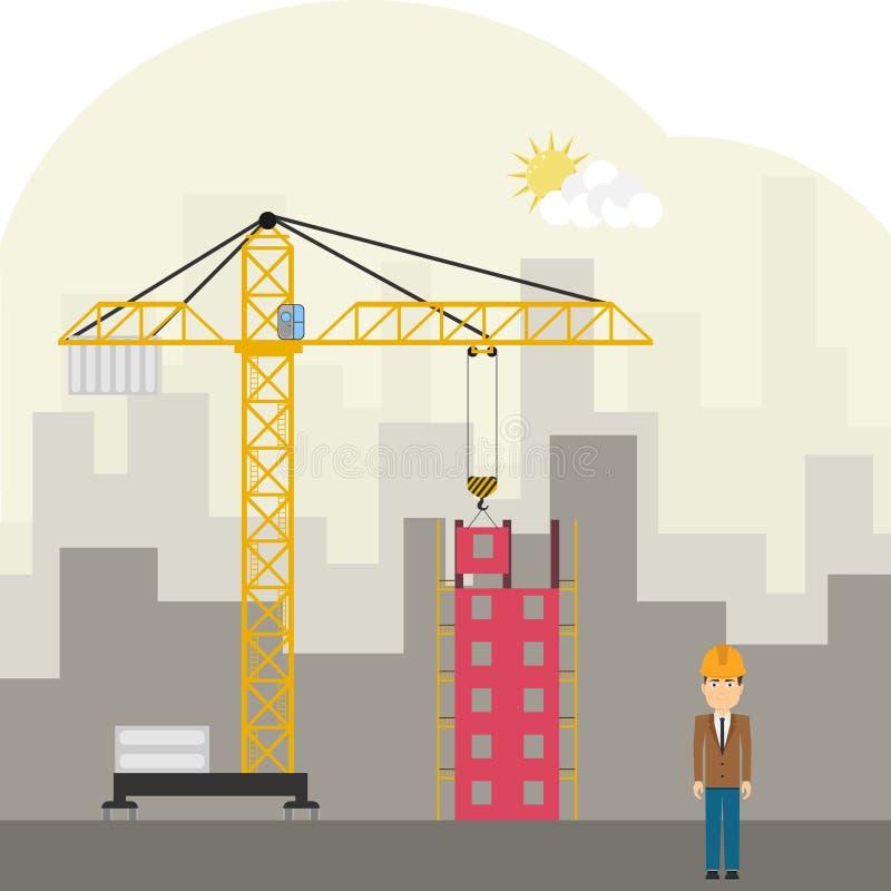 Construction site with a crane. Flat design, illustration vector illustration