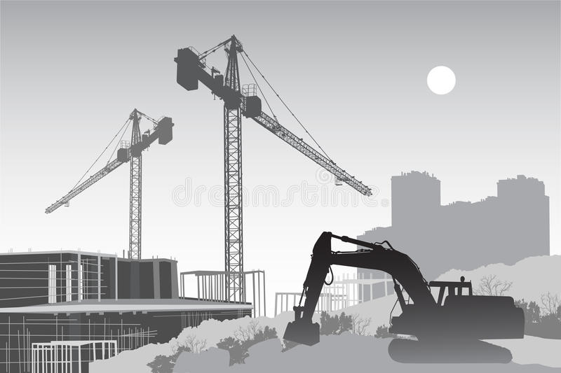 Construction site with cranes. Image of the construction site with cranes, scaffolding and a tractor in the foreground vector illustration
