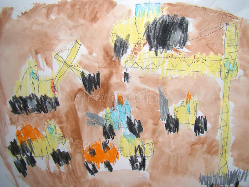 Construction site - drawn by child royalty free illustration