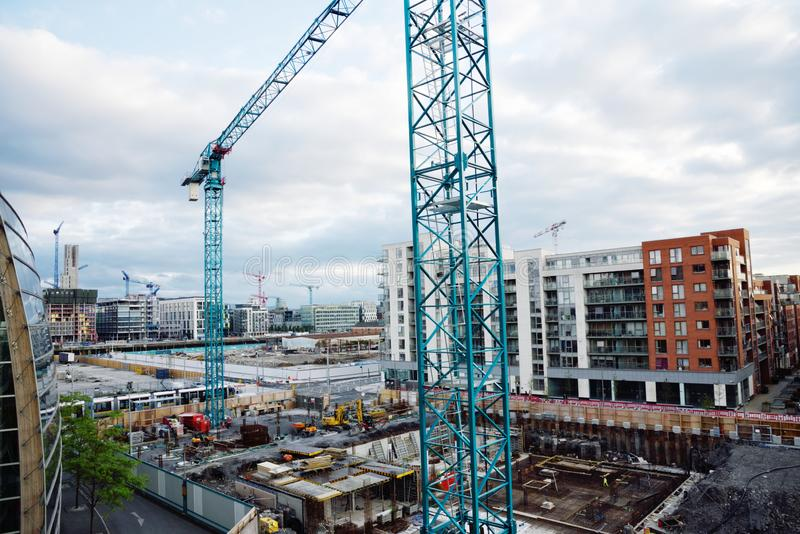 Construction Site in Dublin Ireland. Dublin, Ireland - June 13, 2017: Downtown urban revitalization project in the metropolitan area of Dublin known as The Point stock photos