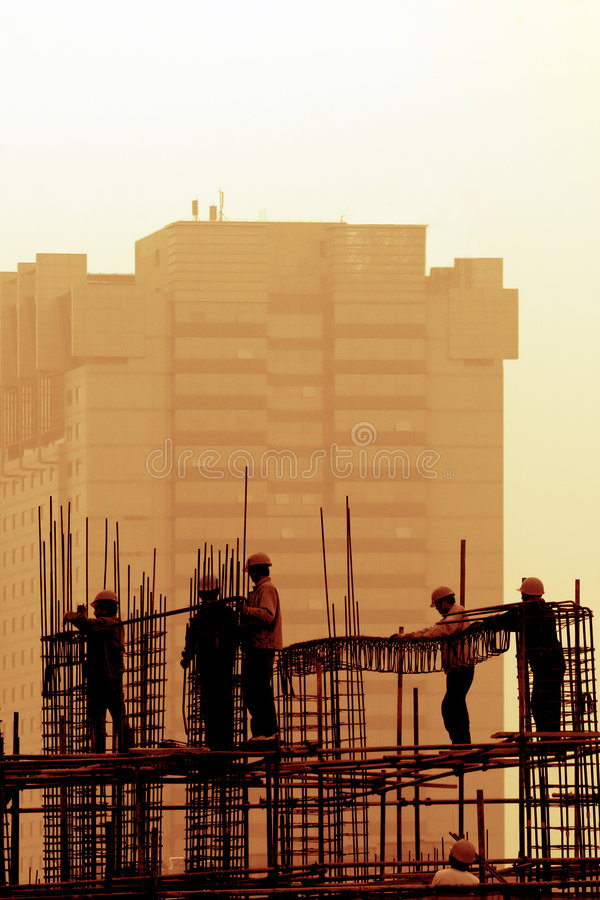 Construction Site at dusk. stock photography