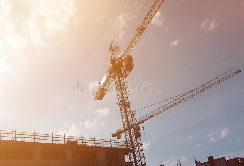 Construction Site at Dusk. Image of Construction Site at Dusk stock photo