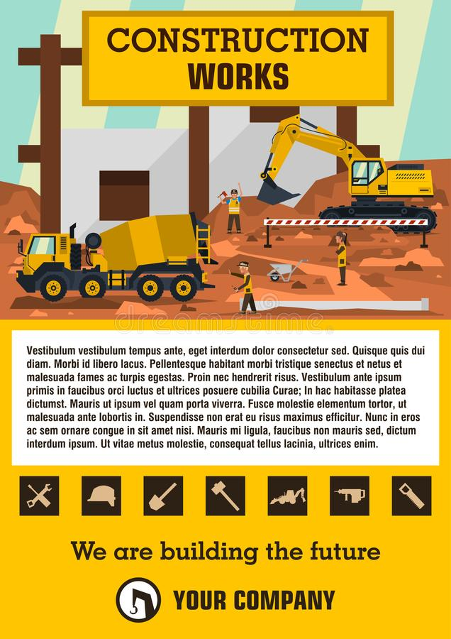 Construction site. Employees performing the construction of the building. Special equipment. Excavator, concrete mixer. Template for text. Labels, icons, logos vector illustration