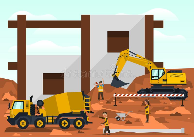 Construction site. Employees performing the construction of the building. Special equipment. Excavator, concrete mixer. Template for text. Labels, icons, logos stock illustration