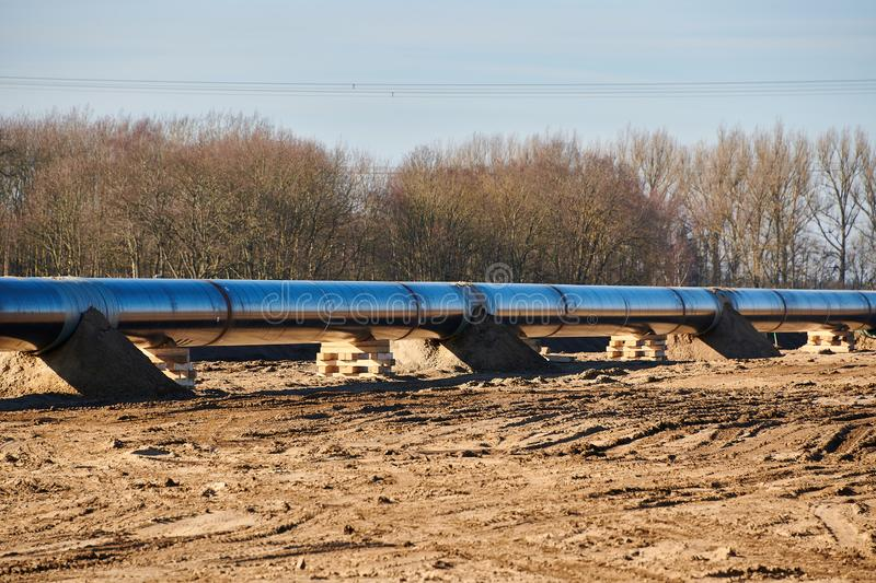 Construction site of the European natural gas pipeline EUGAL near Wrangelsburg (Germany) on 16.02.2019, this pipeline begins in. Lubmin at the landing site of royalty free stock photos