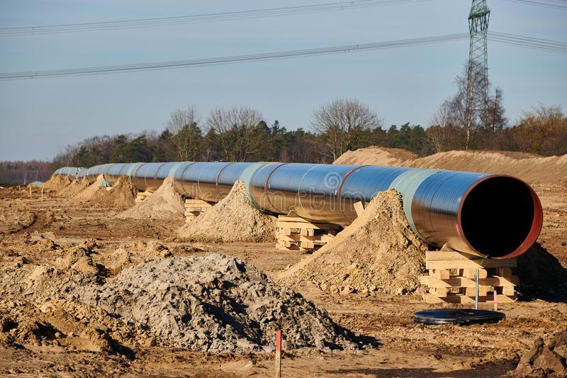 Construction site of the European natural gas pipeline EUGAL near Wrangelsburg (Germany) on 16.02.2019, this pipeline begins in. Lubmin at the landing site of stock photo