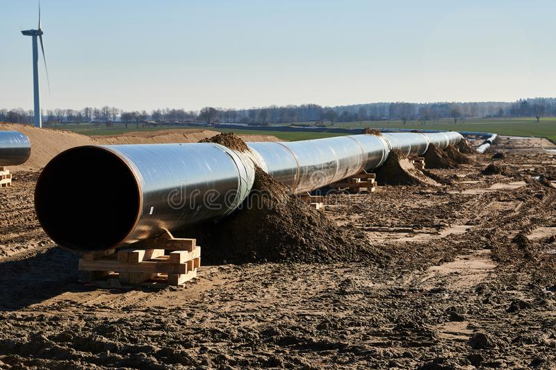 Construction site of the European natural gas pipeline EUGAL near Wrangelsburg (Germany) on 16.02.2019, this pipeline begins in. Lubmin at the landing site of stock image