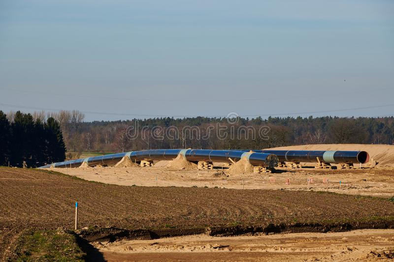 Construction site of the European natural gas pipeline EUGAL near Wrangelsburg (Germany) on 16.02.2019, this pipeline begins in. Lubmin at the landing site of stock photography