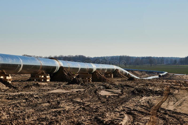 Construction site of the European natural gas pipeline EUGAL near Wrangelsburg (Germany) on 16.02.2019, this pipeline begins in. Lubmin at the landing site of royalty free stock photo