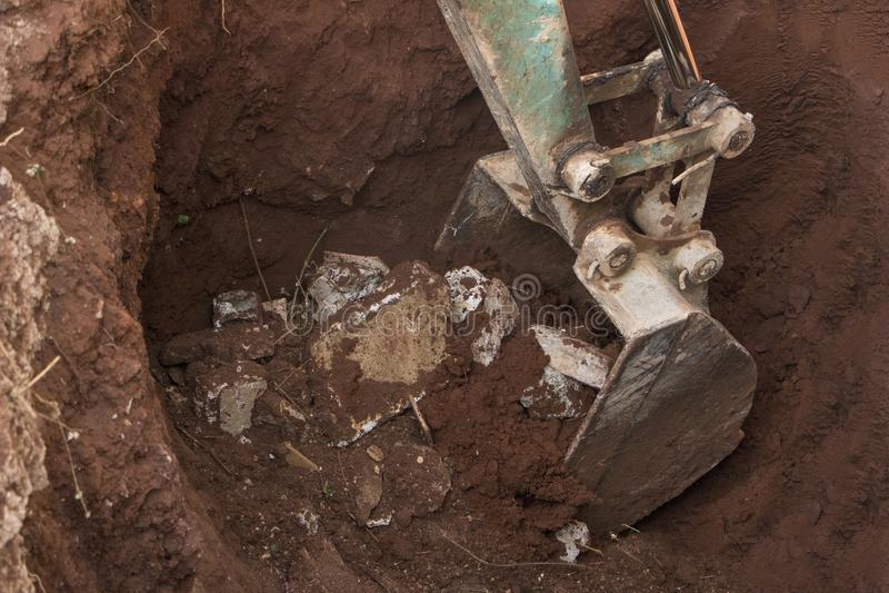 Construction site excavator.hydraulic loader excavator construction mineing ground stock photos