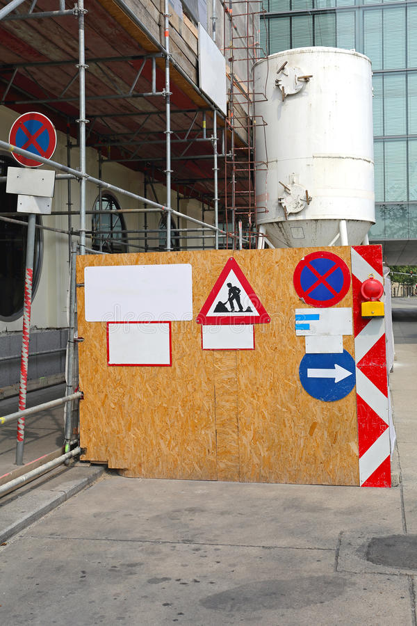 Construction Site Fence. Construction Site Barrier Fence at Street royalty free stock images