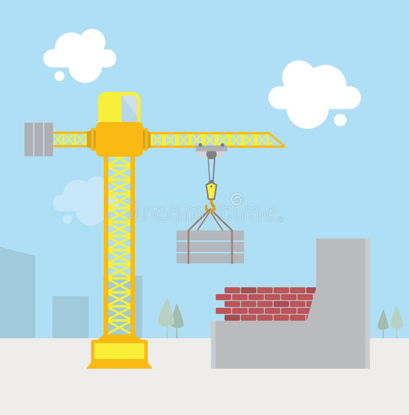 Construction site. Flat style construction site. Vector contains transparent objects royalty free illustration