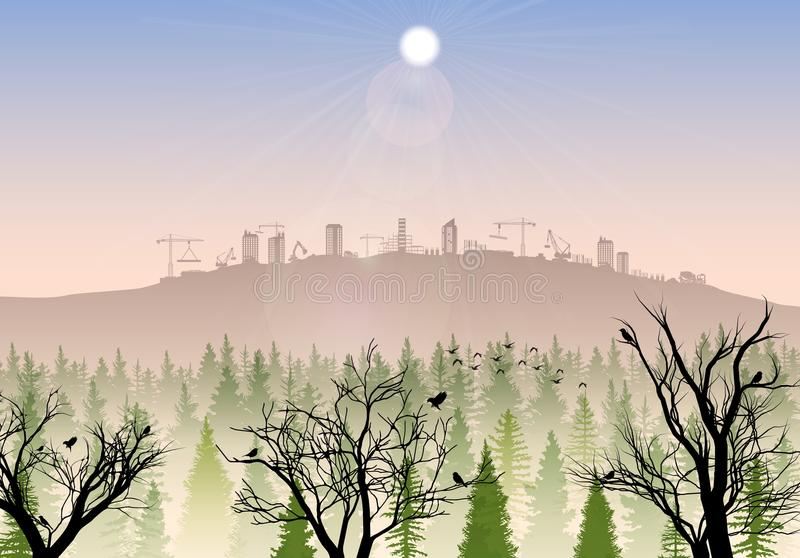 Construction site on the hills at sunrise. Illustration of Construction site on the hills at sunrise royalty free illustration