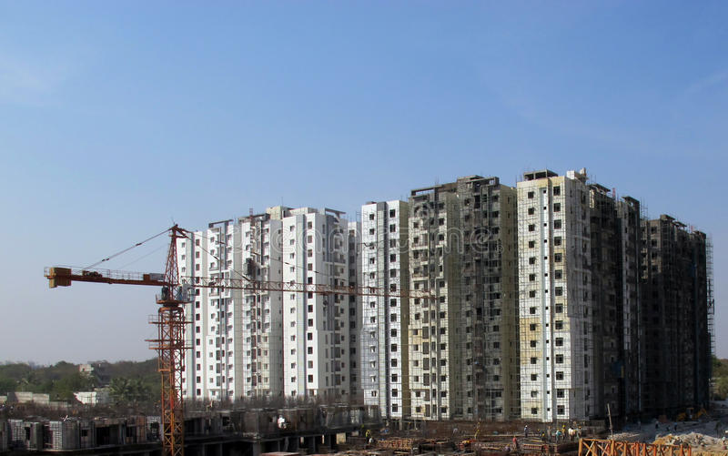 Construction site in Hyderabad India. Residential construction site in Hyderabad India near Mindspace stock photos