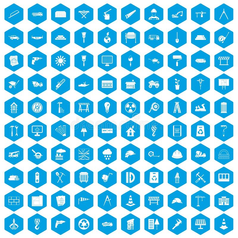 100 construction site icons set blue. 100 construction site icons set in blue hexagon isolated vector illustration vector illustration