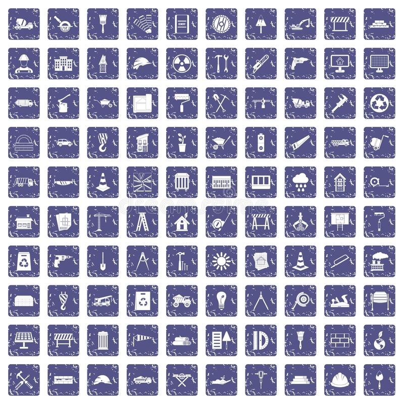 100 construction site icons set grunge sapphire. 100 construction site icons set in grunge style sapphire color isolated on white background vector illustration stock illustration