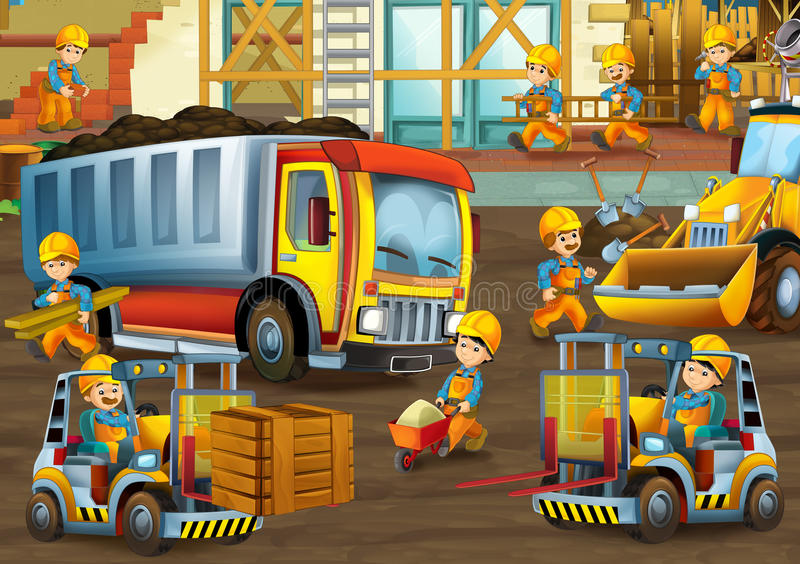 On the construction site - illustration for the children royalty free illustration