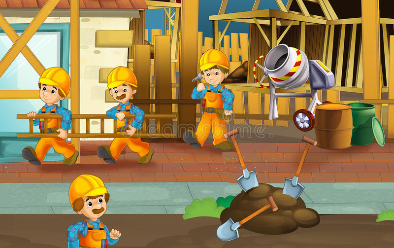 On the construction site - illustration for the children vector illustration