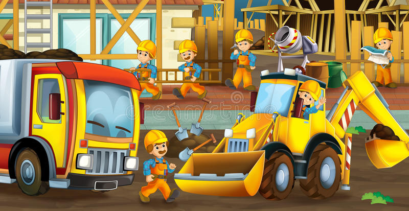 On the construction site - illustration for the children stock illustration
