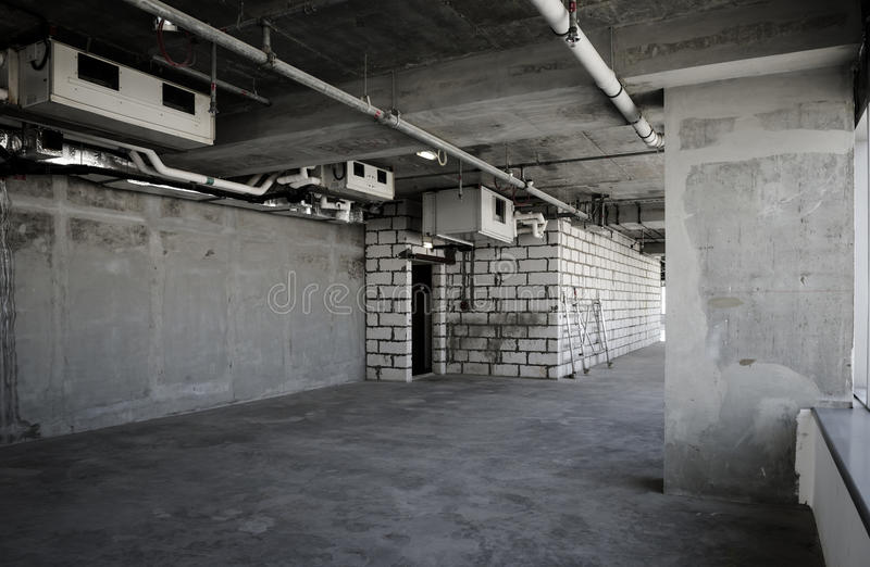 Construction site. Incomplete or abandoned building interior stock photography