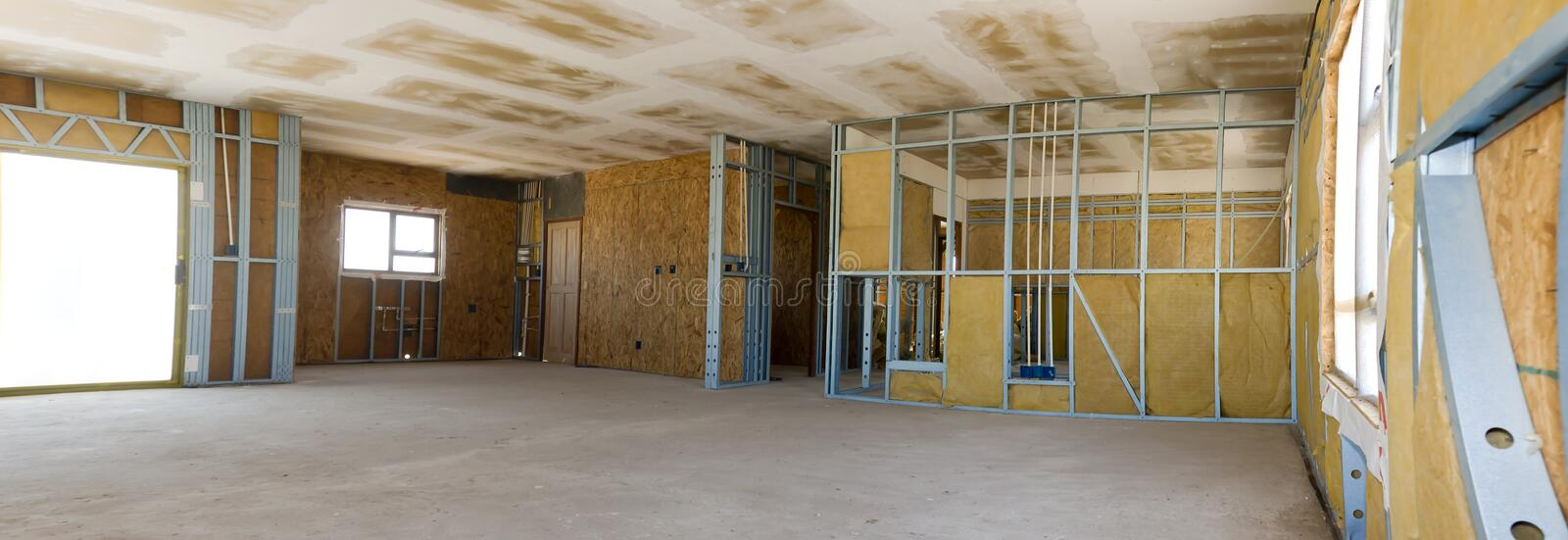 Construction Site - Inside View - Wide Angle. Internal view of metal frame based prefabrication form of building, construction site. Wide angle perspective, from stock photography