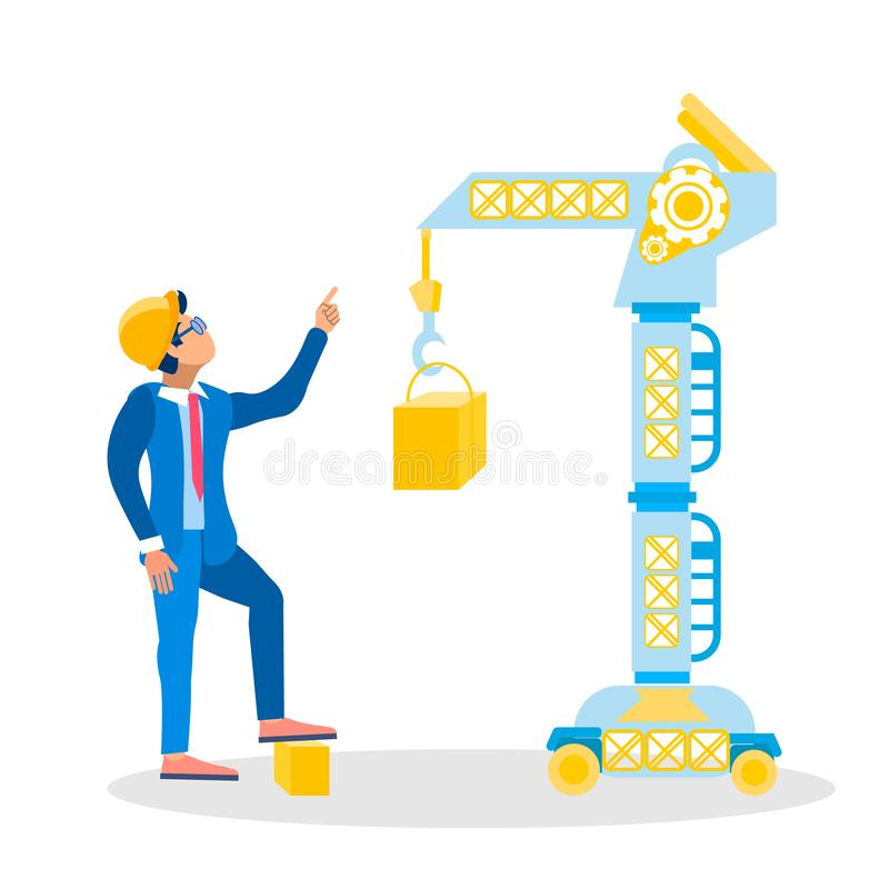 Construction Site Inspector Vector Illustration. Architect, Foreman in Hardhat Giving Orders Cartoon Character. Industrial, Lifting Crane, Heavy Machinery stock illustration