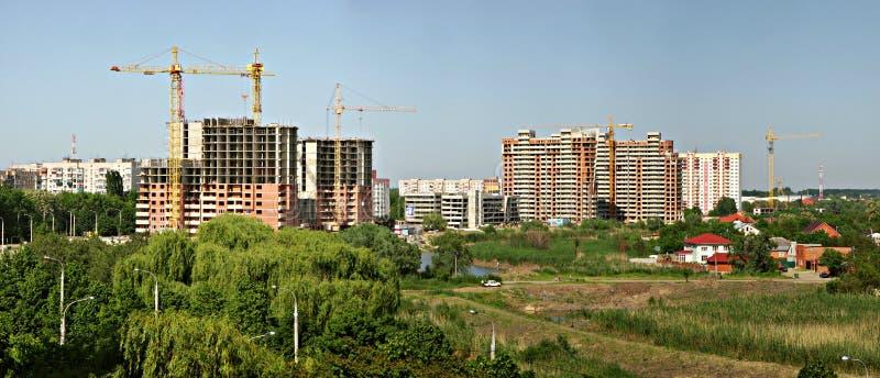 A construction site in krasnodar. Panoramic view on a construction site in Krasnodar stock photography