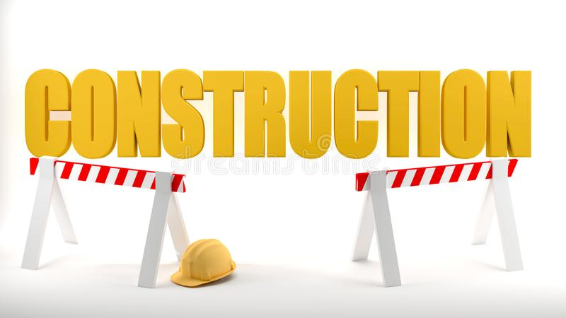 Construction site logo with hard hat and construction barriers symbolizes safety in a construction site, white background. royalty free stock image