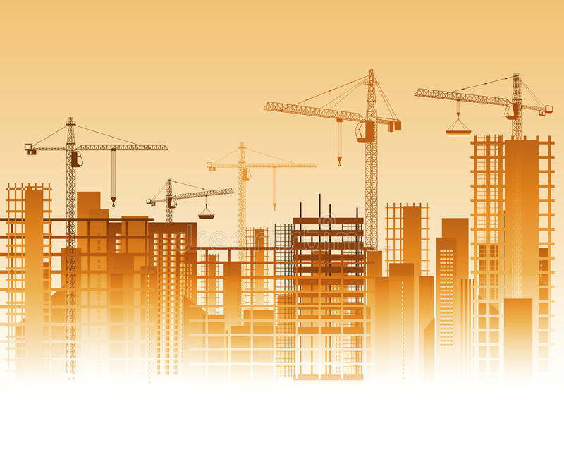 Construction site. Lots of cranes on construction site. Vector illustration stock illustration