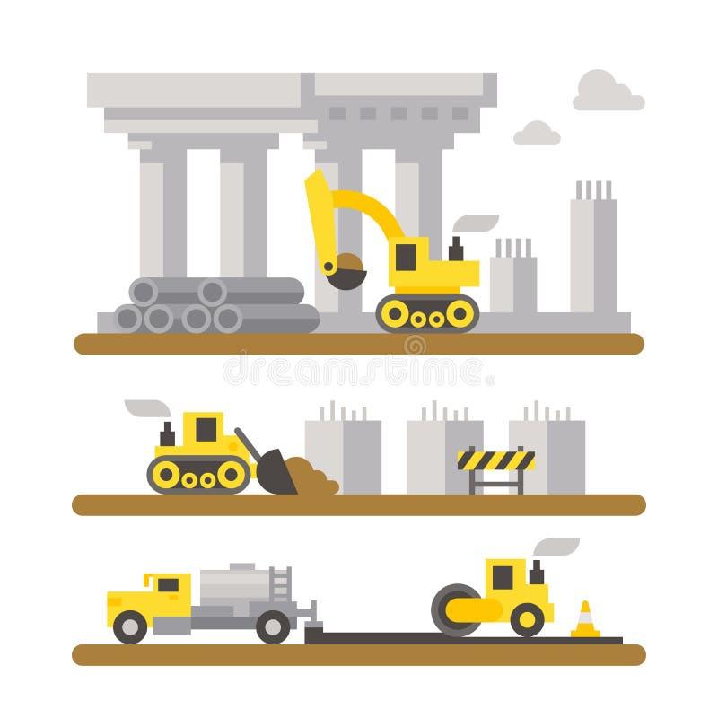 Construction site machineries flat design. Illustration vector vector illustration