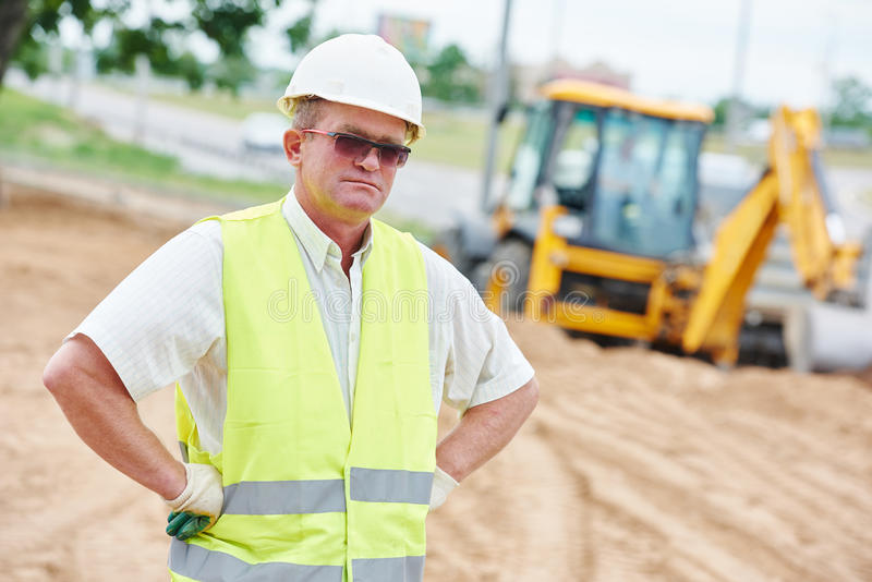 Construction site manager worker portrait stock images