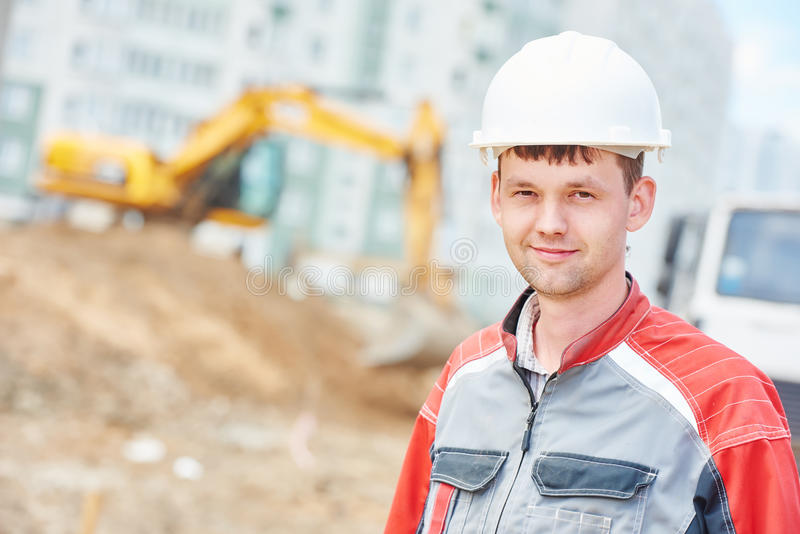Construction site manager worker portrait stock photography