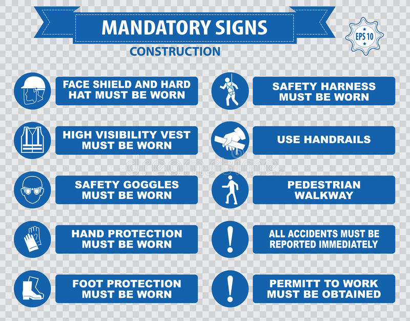 Construction Site Mandatory Signs. (face shield hard hat must be worn, high visibility vest, safety goggles, pedestrian walkway, gloves, boots, all accidents royalty free illustration