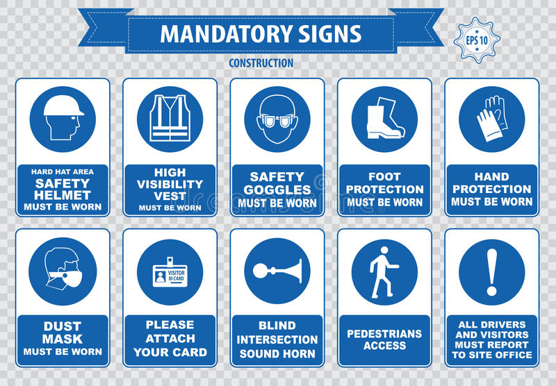 Construction Site Mandatory Signs. (face shield hard hat must be worn, high visibility vest, safety goggles, pedestrian walkway, gloves, boots, all accidents stock illustration