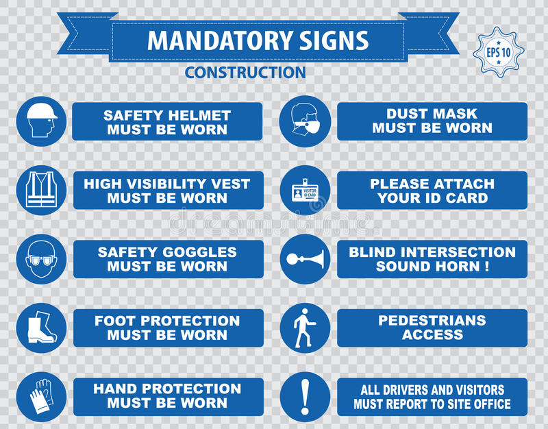 Construction Site Mandatory Signs. (face shield hard hat must be worn, high visibility vest, safety goggles, pedestrian walkway, gloves, boots, all accidents vector illustration