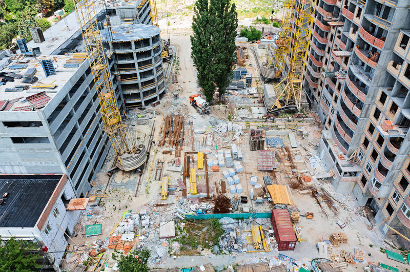 Construction Site With Many Equipment Royalty Free Stock Images
