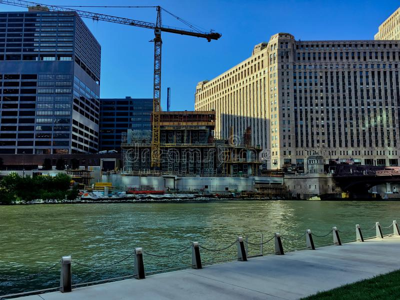 Construction site of new building along the Chicago River in the downtown Loop. Construction site of new building along the Chicago River in the downtown Loop royalty free stock image