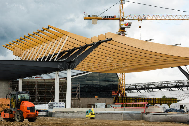 Construction Site of a new exhibition hall in Stuttgart, Germany stock photos