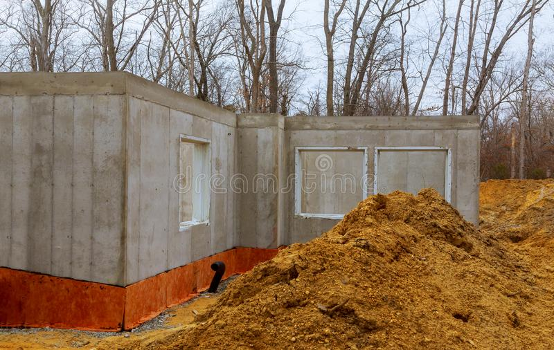 The construction site of a new home poured foundation. Of concrete construction works architecture building activity basement wall floor house job industrial stock photography
