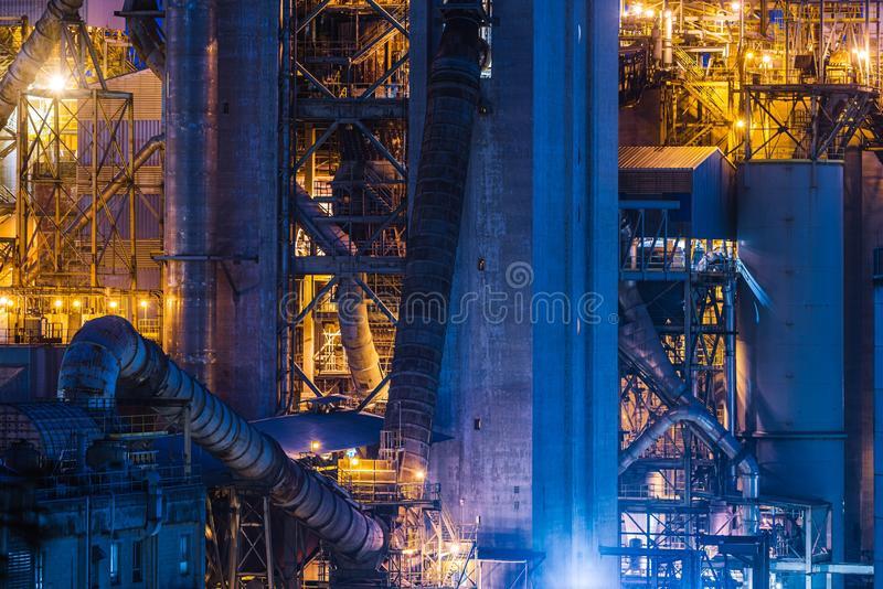 Construction site of a new modern architecture at night royalty free stock photography