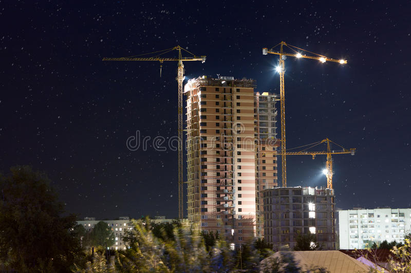 Construction Site At Night Royalty Free Stock Photos