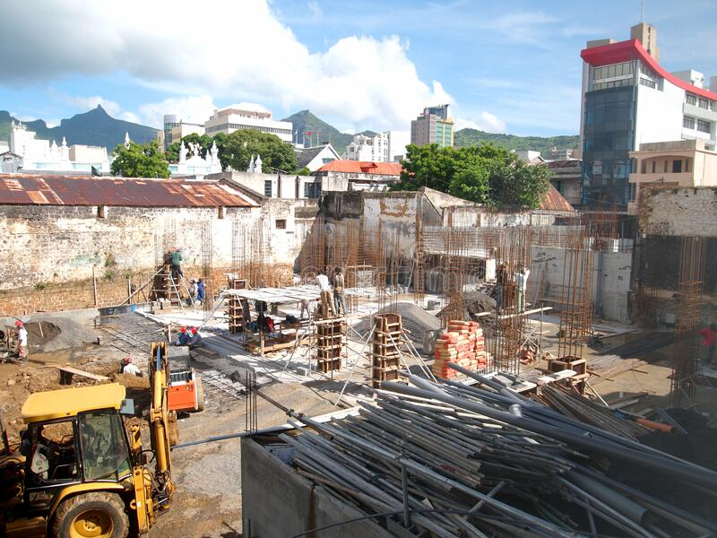 Construction site in Port-Louis Mauritius stock photography