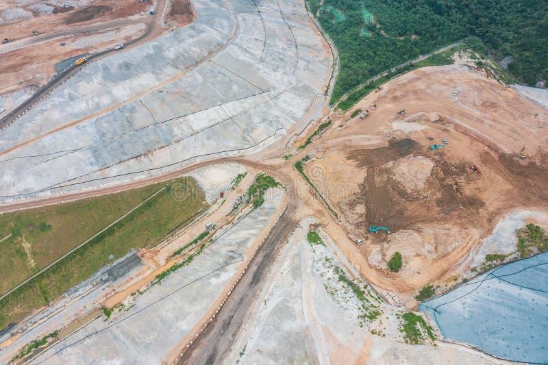 Construction Site in progress, Tseung Kwan O, Hong Kong. Aerial view royalty free stock image