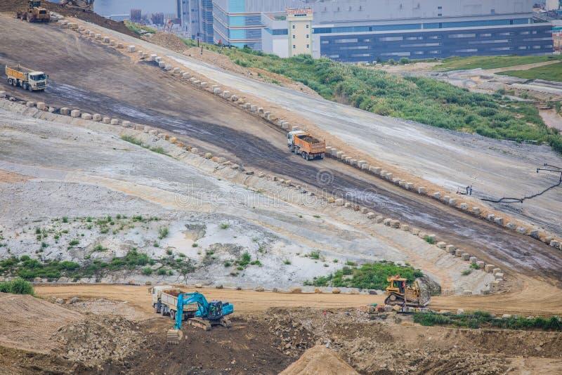 Construction Site in progress, Tseung Kwan O, Hong Kong. Aerial view stock photo