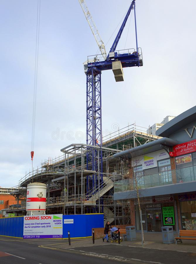 Construction Site and Retail Premises in Bracknell, England royalty free stock photos