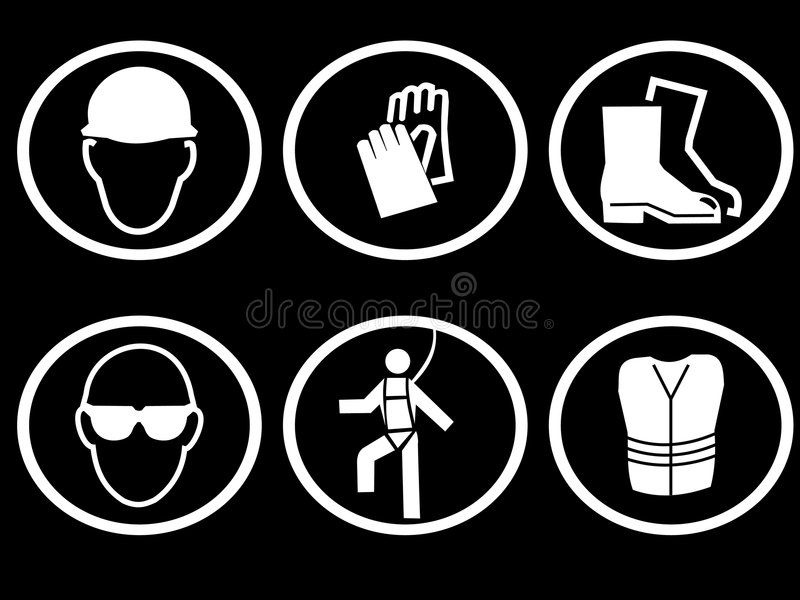Construction site safety. Equipment symbols hat hats, gloves, boots royalty free illustration