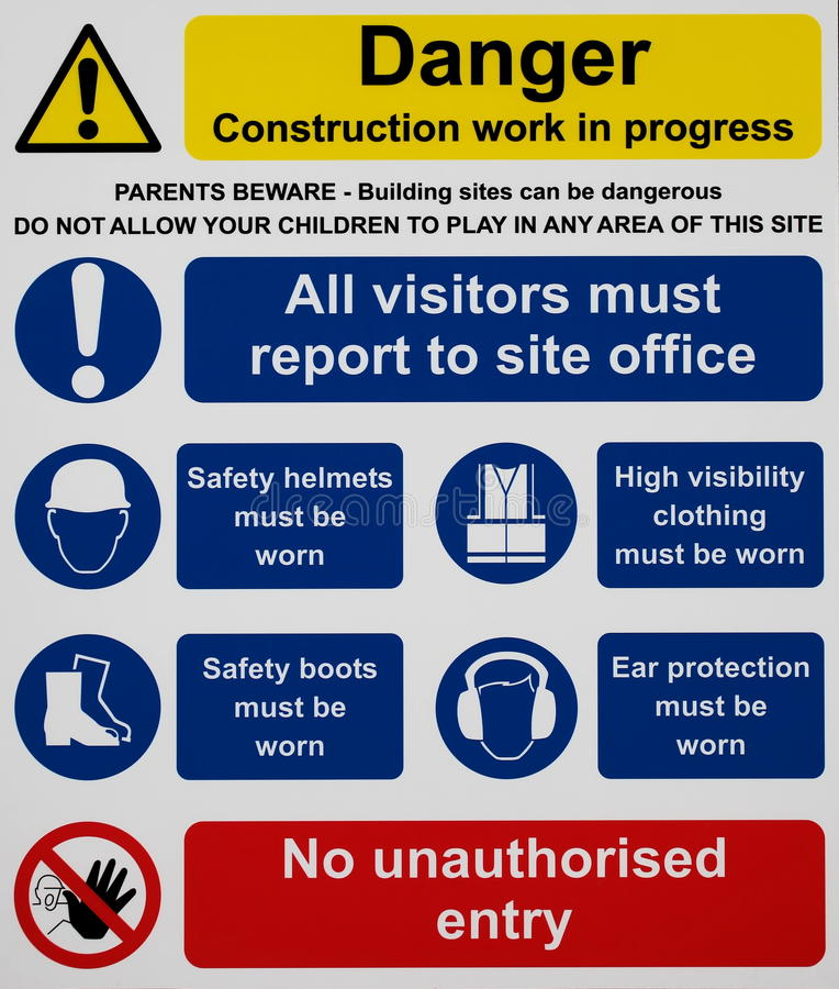 Construction Site Safety Sign royalty free illustration