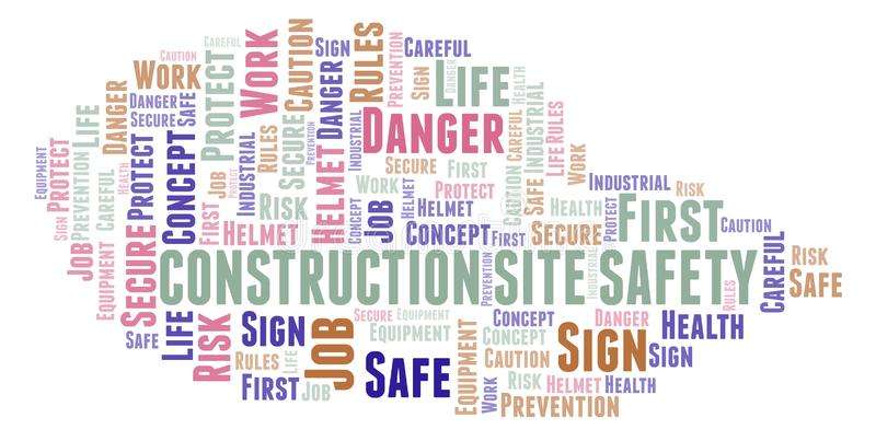 Construction Site Safety word cloud. Word cloud made with text only stock illustration
